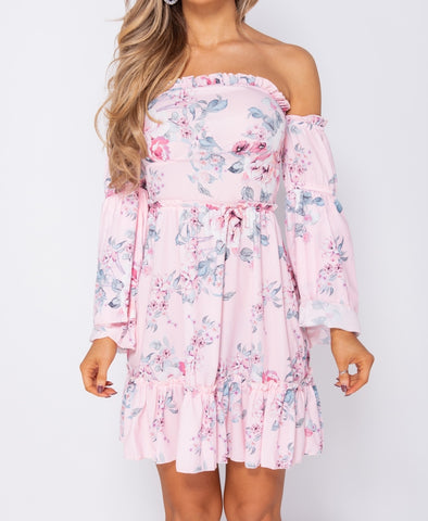 Floral Frill Detail Bardot Mini Dress