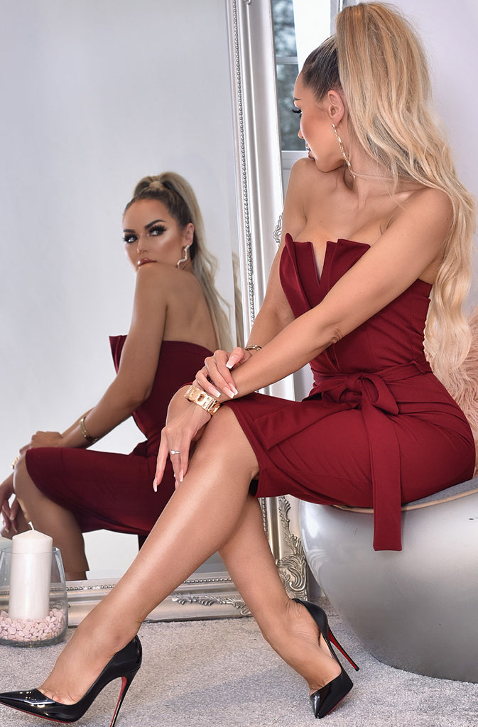 Miss Lady Wine Midi Dress