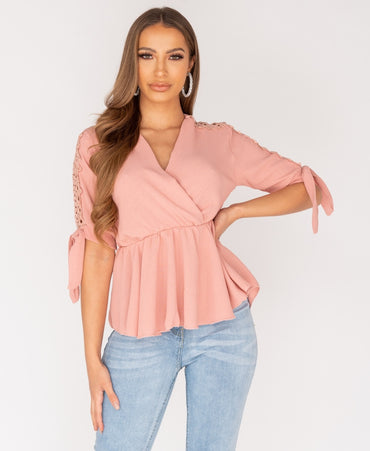 Lace Trim Wrap Front Tie Sleeve Top