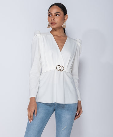 Puffed Sleeve Wrap Front Buckle Detail Top