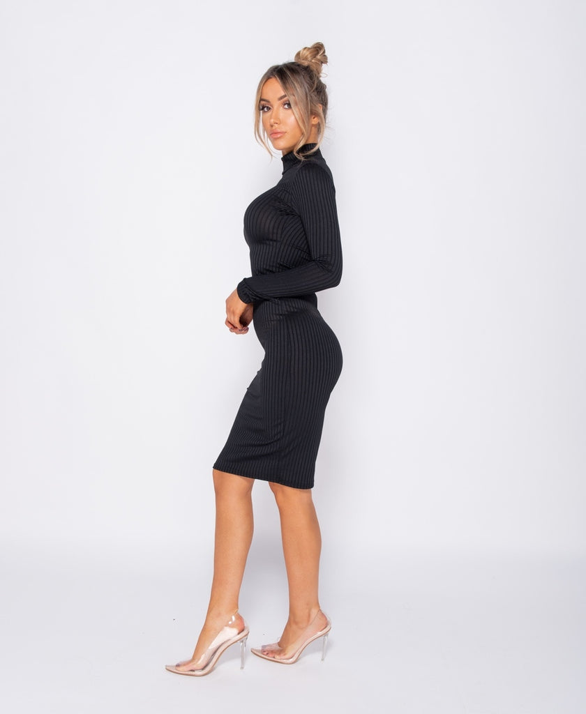 Rib Knit Polo Neck Long Sleeve Midi Dress