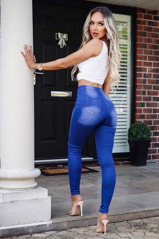 Ripped Knee Bright Blue Faded Skinny Jeggings
