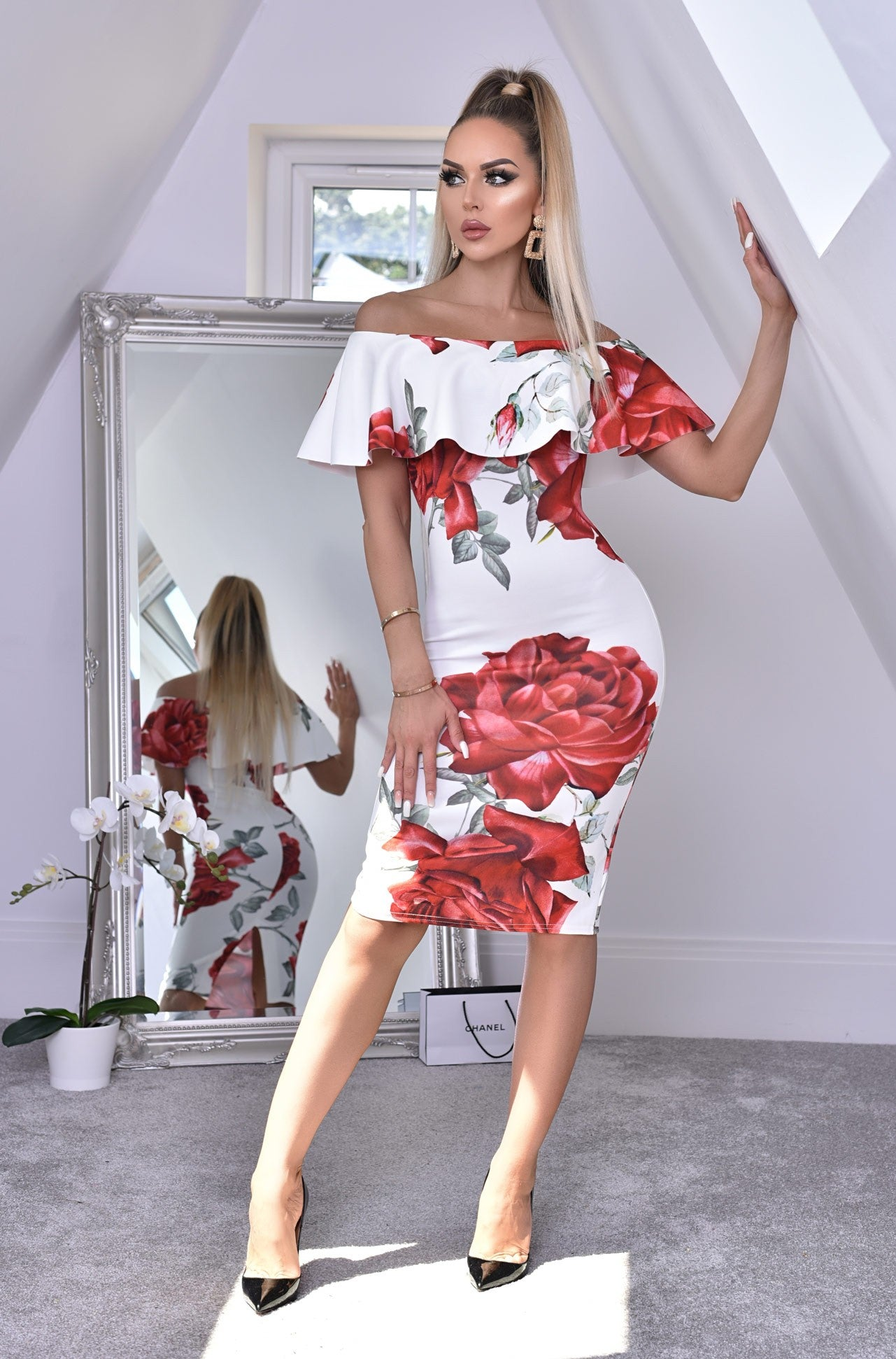 SAVANNA FLORAL FRILL OVERLAY BARDOT DRESS