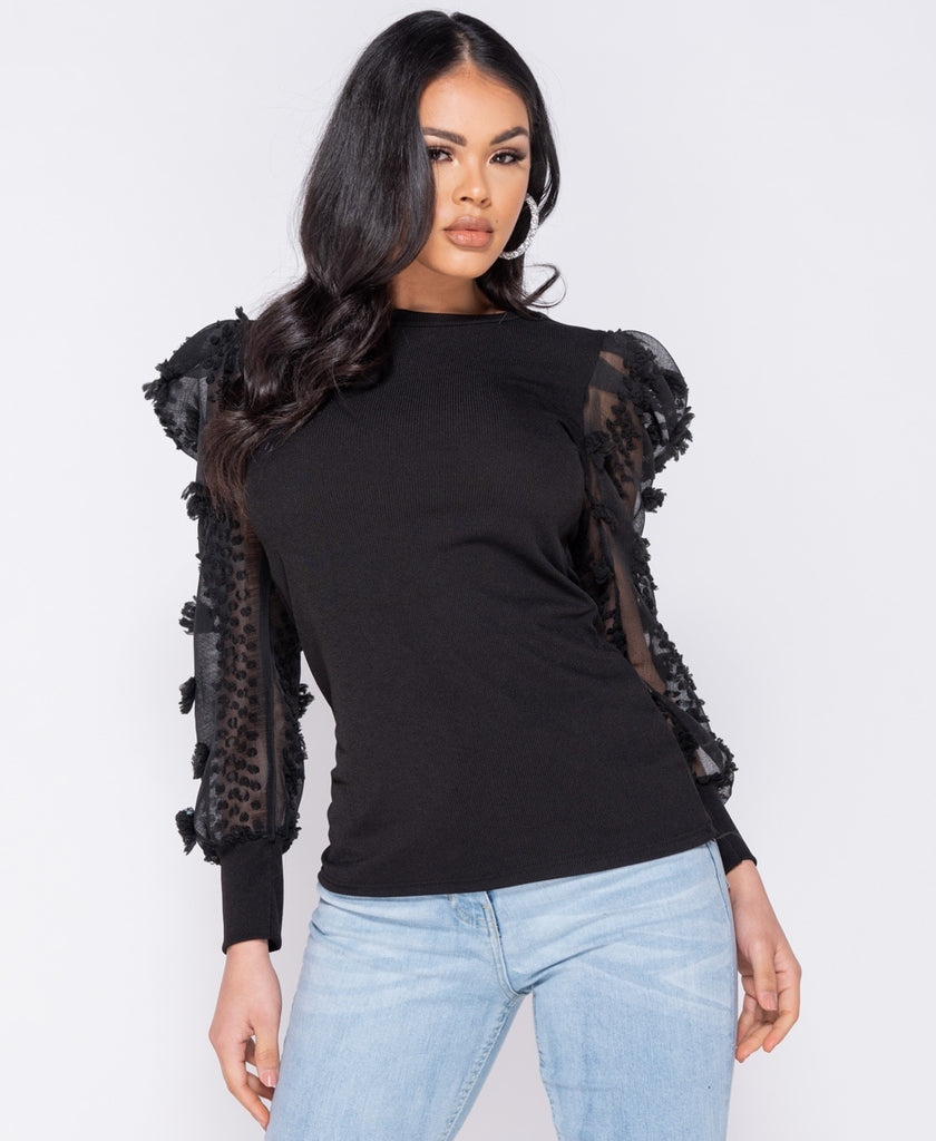 Sheer Dobby Puffed Sleeve Rib Knit Top