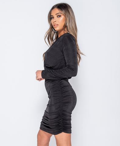 Slinky Fabric Wrapover Front Long Sleeve Ruched Mini Dress