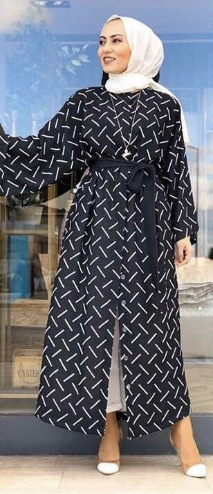 1002 Collection Black Lines Printed Dress