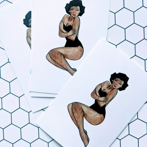 Black Pinup 5-Pack Note Cards
