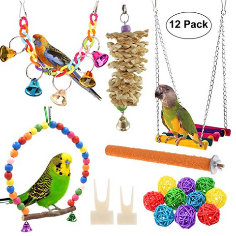 Hanging Bell Birds Cage Toys Suitable for Small Parakeets, Cockatiel