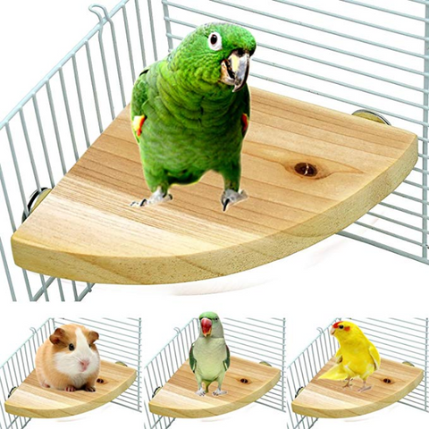 Borangs Wood Perch Bird Platform Parrot Stand Playground Cage