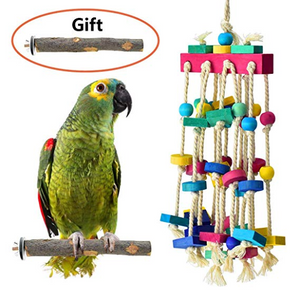 KATUMO Bird Chewing Toy with Bird Perch Nature Wood Stand, Parrot Cage Bite Toys