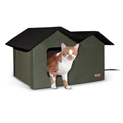 Wide Olive  Outdoor Cat Shelter Heated or Unheated