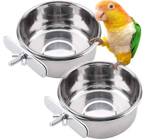 Water Cage Bowls with Clamp Holder for Cockatiel Conure Budgies Parakeet