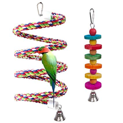 Rope Bungee Bird Toy with A Bird Chew Toys
