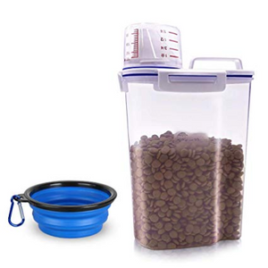 Food Storage Container, Small Dog Food Container Airtight Plastic Dispenser with Graduated