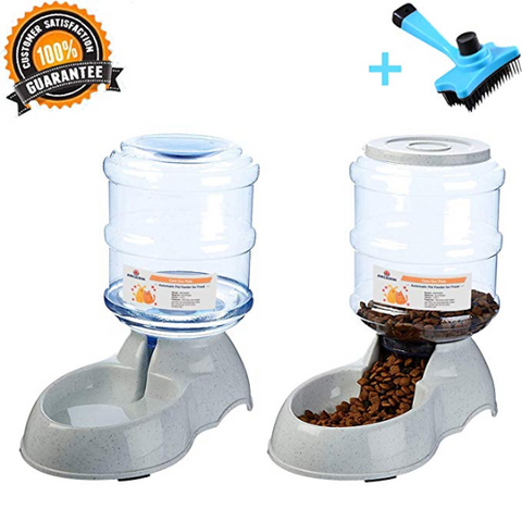 Ancaixin Automatic Cat Feeder and Water Dispenser in Set with Slicker