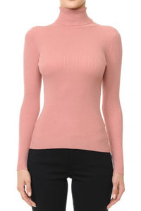 Solid Turtleneck Long-Sleeve Sweater