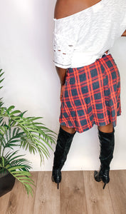 Plaid Tie Skirt