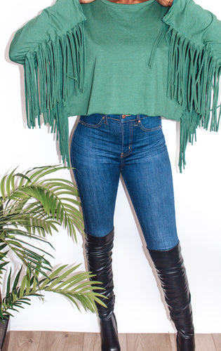 Fringe Me Down Sweater Crop Top