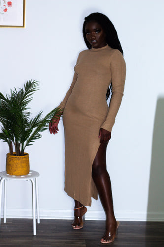 Long-Sleeve Split Midi Dress