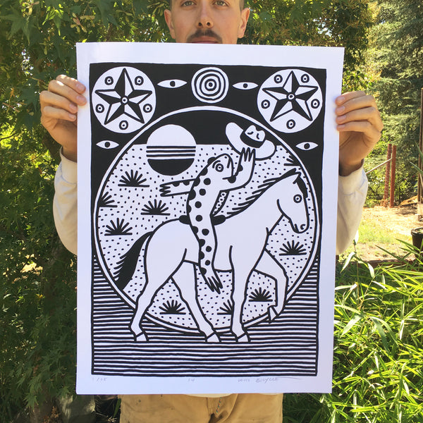 Cowboy frog riding a horse. Screen printed poster by Louis Bicycle.