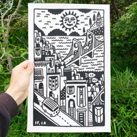 Screen printed poster by artist Louis Bicycle. Drawing of San Francisco, CA.