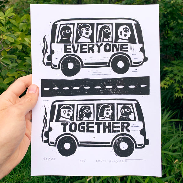 "Block printed poster by artist Louis Bicycle. Two buses full of people. Text ""Everyone Together."""
