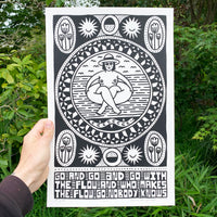 Screen printed poster by artist Louis Bicycle. Naked woman floating in tube.