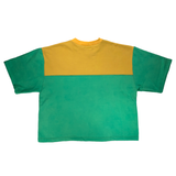 Home sewn cropped sweatshirt tee - embroidered and dyed - L