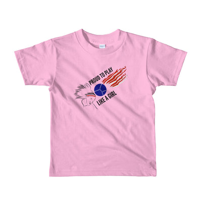 Short sleeve kids t-shirt with Proud to Play Like a Girl