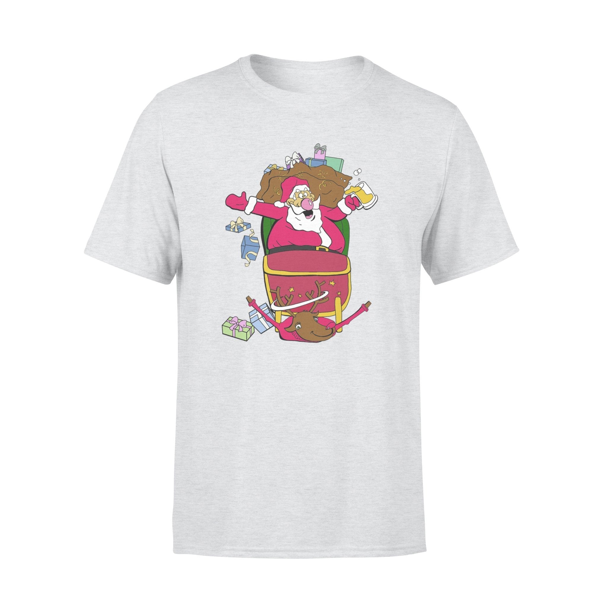 Funny Christmas Fat Drunk Santa Claus and Reindeer T-shirt