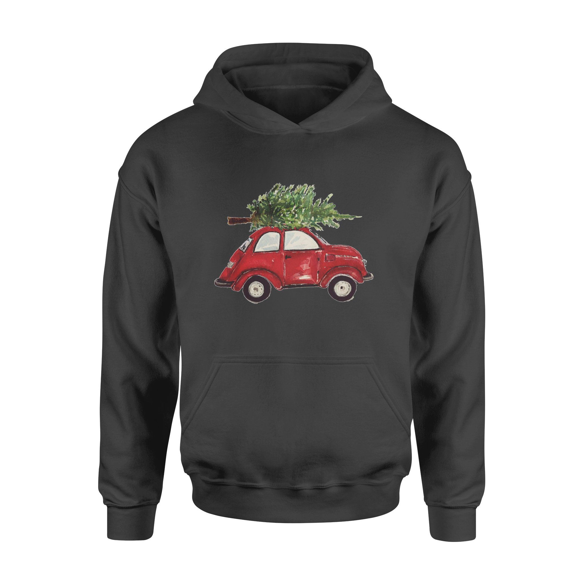 Watercolor Vintage Classic Red Car with Christmas Trees Hoodie