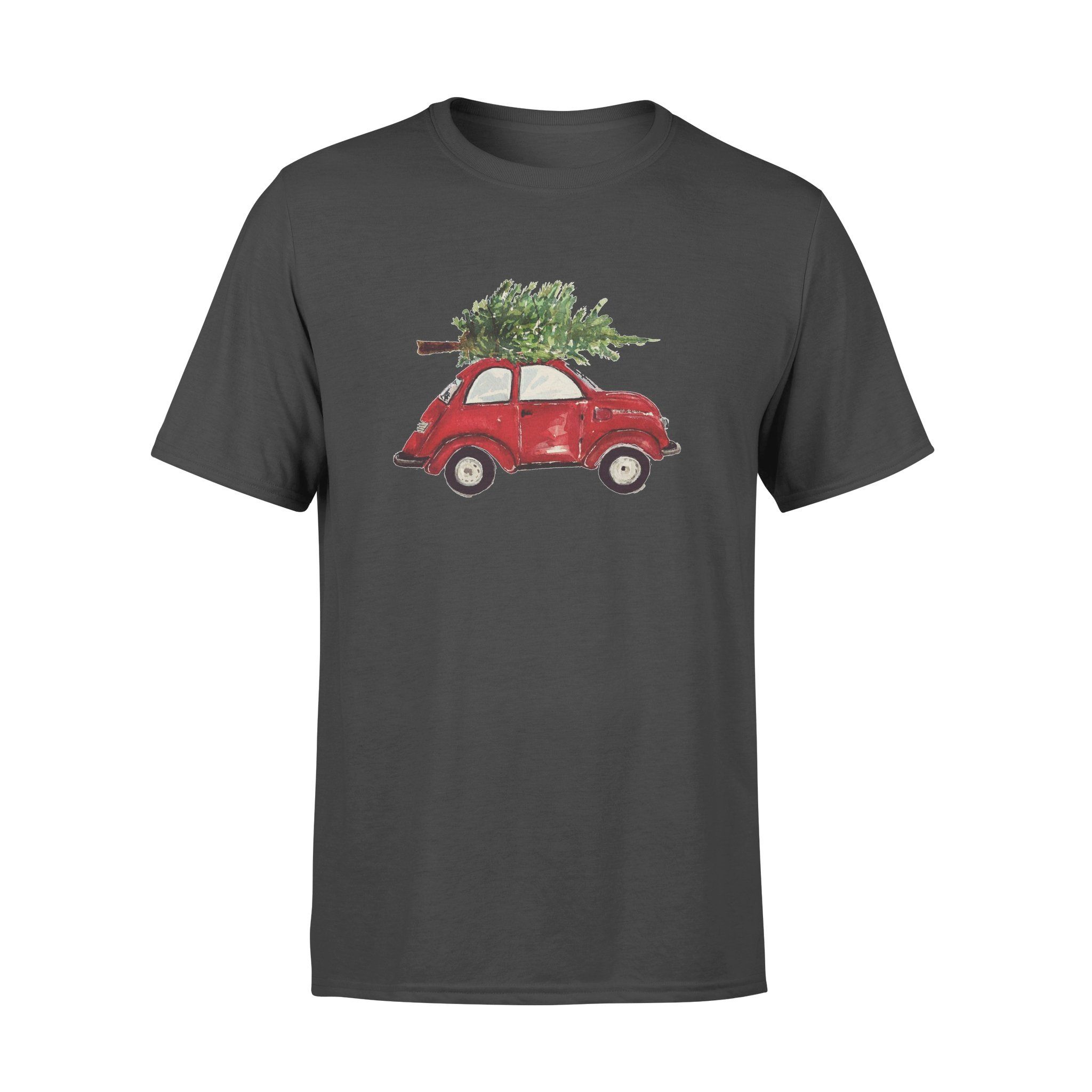Watercolor Vintage Classic Red Car with Christmas Trees T-shirt