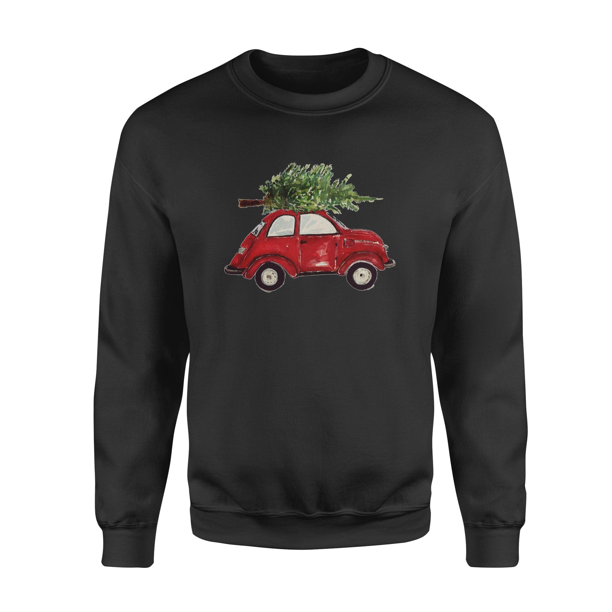 Watercolor Vintage Classic Red Car with Christmas Trees Fleece Sweatshirt