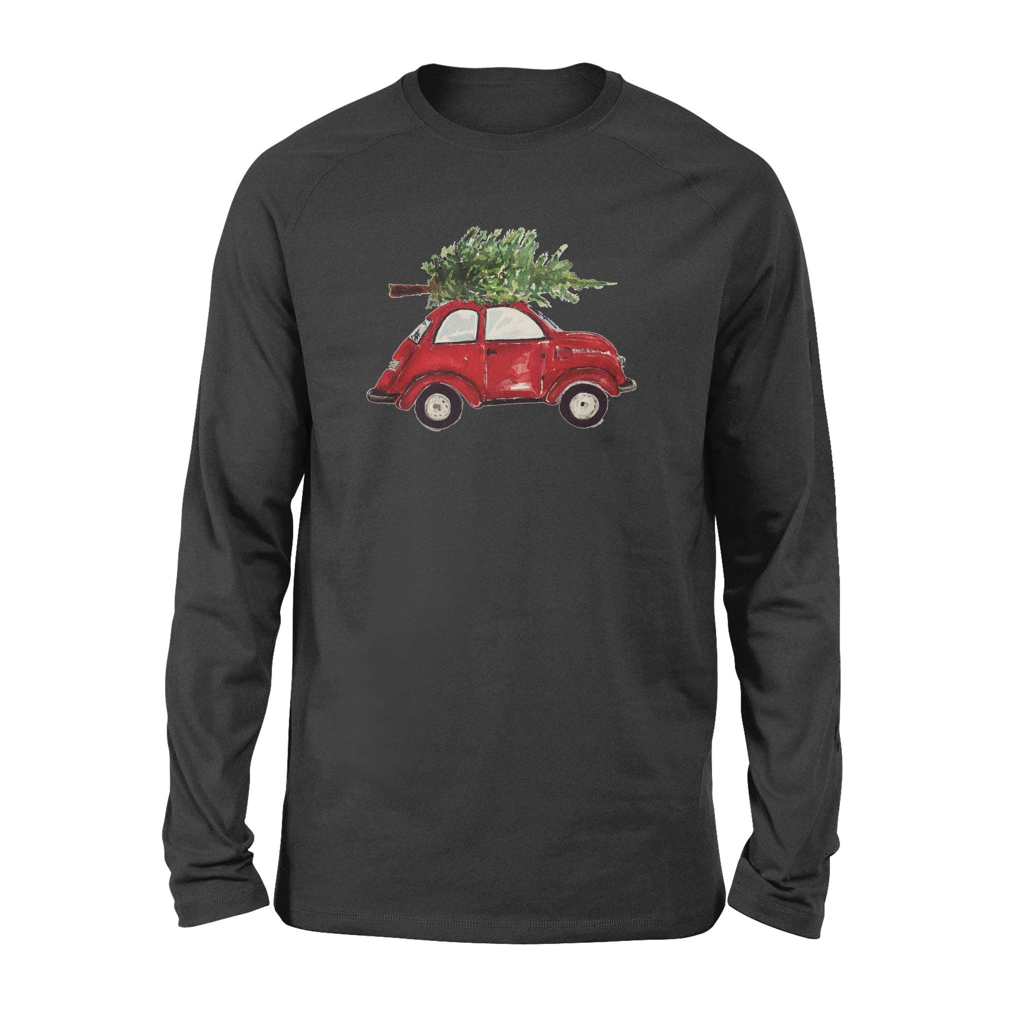 Watercolor Vintage Classic Red Car with Christmas Trees Long Sleeve