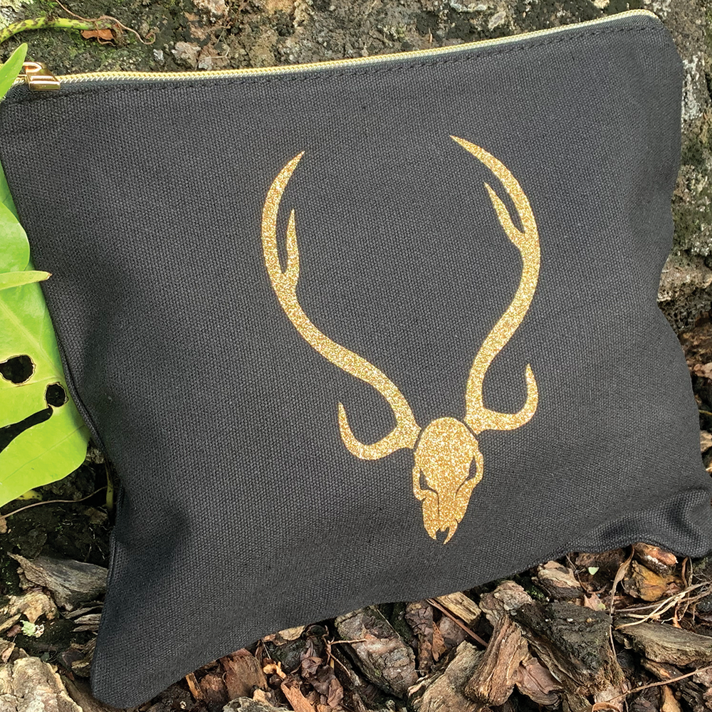 Deer Skull Canvas Clutch