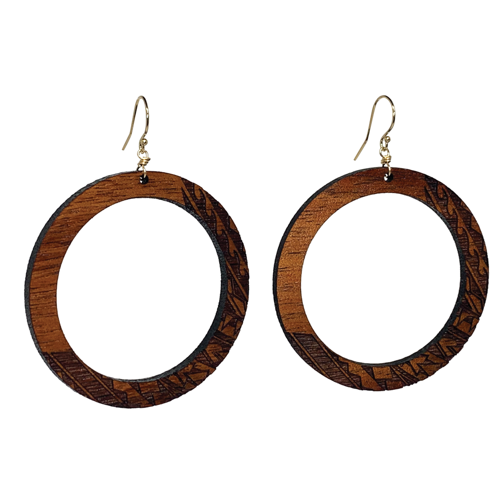 Hoku Koa Earrings (Pearl Available)
