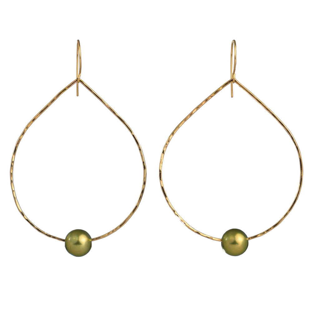Gold Filled Teardrop Tahitian pearl Earrings