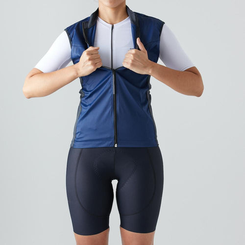 Givelo Womens Blue Windproof Gilet Gilets Givelo