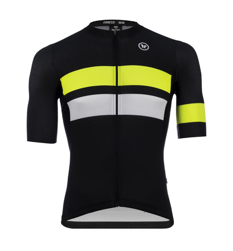 Pacto Mens Black/Fluorescent Stripes One Pro Short Sleeve Jersey Jerseys Pacto