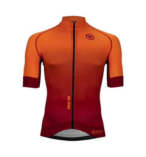 Pacto Mens Orange-Red Carbon Short Sleeve Jersey Jerseys Pacto