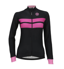 Load image into Gallery viewer, Pacto Womens Black-Pink Laser Long Sleeve Jersey Long Sleeve Jerseys Pacto