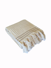 Load image into Gallery viewer, Classic Cream Stripe Boucle Bath Towel