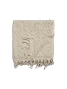 Cream Broad Leaf Boucle Bath Towel