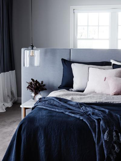 Mondo 100% French Linen Duvet Cover Set - Navy