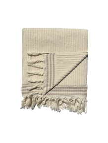 Classic Cream Stripe Boucle Bath Towel