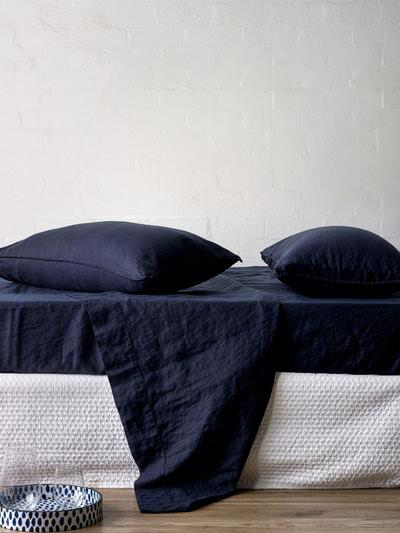 Mondo 100% French Linen Sheet Set - Navy