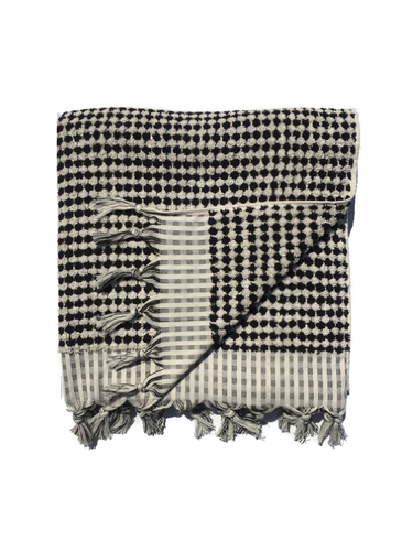 Spotted Black/Cream Boucle Bath Towel (BLOCK SHOP)