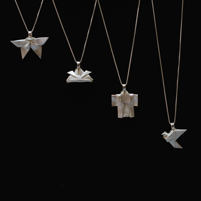 Hand-folded origami fine silver necklaces