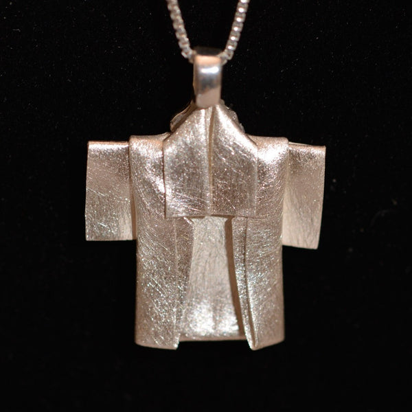 Happi coat origami fine silver pendant with sterling silver chain