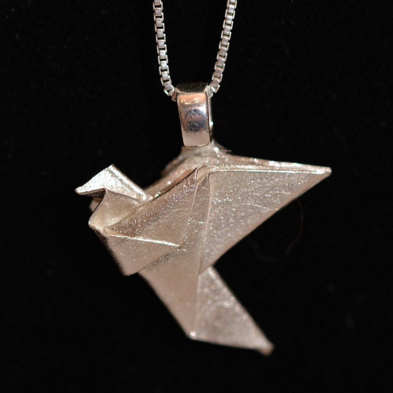 Dove origami fine silver pendant with sterling silver chain